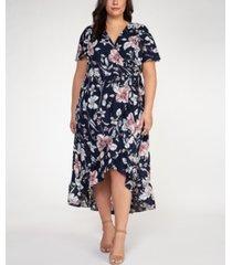 plus size floral print fit & flare dress