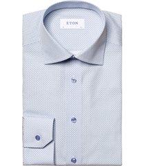 eton slim fit medallion print shirt, size 17.5 in blue at nordstrom