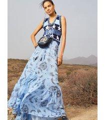 tommy hilfiger women's cross stitch maxi skirt bluebell - 36