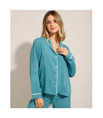 camisa de pijama manga longa em viscose com vivo contrastante verde