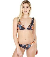 bikini estampado con vuelos azul h2o wear