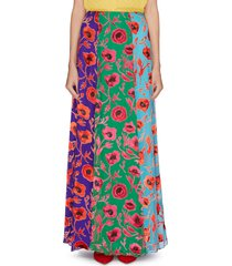 'aquinnah' floral print panelled colourblock skirt