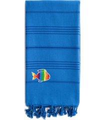 linum home 100% turkish cotton summer fun sparkling rainbow fish pestemal beach towel bedding