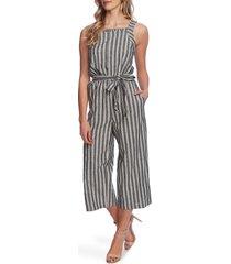 women's cece double stripe sleeveless crop jumpsuit, size 14 - black