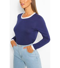 long sleeve contrast ringer top, navy