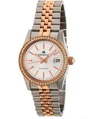 empress constance automatic rose gold case, white dial, silver stainless steel watch 37mm