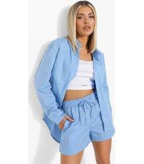 oversized katoenen poplin blouse en shorts, powder blue