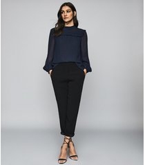 reiss anoushka - semi sheer pleat detailed blouse in navy, womens, size 12