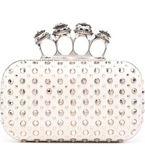 alexander mcqueen crystal-embellished clutch bag - white