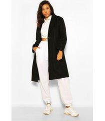 luxe getailleerde geborstelde nepwollen jas, zwart