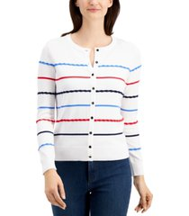 charter club petite textural-striped cardigan sweater, created for macy's