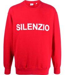 aspesi slogan print sweatshirt - red