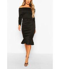 overleaf bardot top & fishtail midi skirt, black