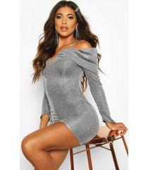 metallic bodycon-jurk met glitters en boothals, zilver
