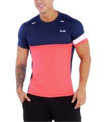 camiseta azul oscuro-rojo neo