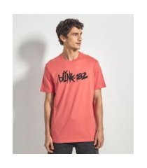 camiseta manga curta com estampa blink 182 | blink 182 | vermelho | m