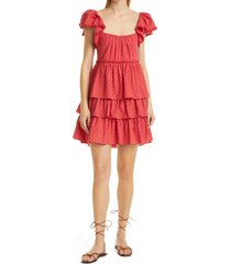 women's cinq a sept marcia eyelet tiered cotton dress, size 12 - red