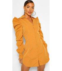 blouse jurk met uitgesneden schouders en geplooide mouwen, mosterd
