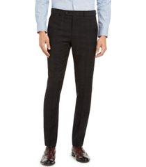 calvin klein men's skinny-fit infinite stretch black plaid suit separate pants
