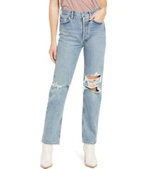agolde '90s pinch high waist straight leg organic cotton jeans, size 25 in backdrop mediu at nordstrom