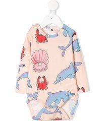 mini rodini dolphin printed bodysuit - pink