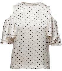 leclair satin t-shirts & tops short-sleeved creme ganni