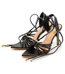 sandália bico folha gladiadora salto fino luxo em napa preta lançamento