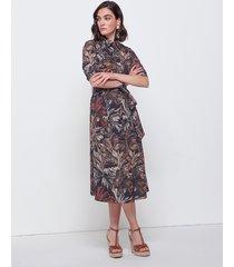 motivi vestito chemisier fantasia foliage donna marrone