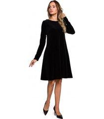 korte jurk moe m566 fluwelen relaxed fit jurk - kastanjebruin