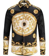 abito casual business vintage a maniche lunghe monopetto stampato da uomo vintage camicia