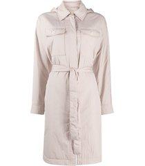brunello cucinelli hooded tie-waist coat - neutrals