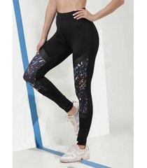 leggings deportivos negros de malla de retazos de cintura alta
