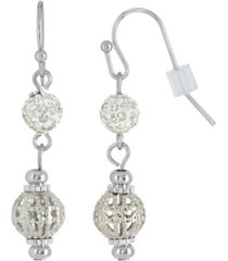 2028 silver-tone crystal fireball and filigree drop earrings