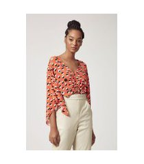 blusa estampada decote profundo detalhe argola bordada est pois picasso laranja - 42