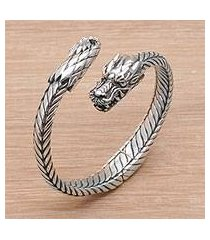 sterling silver cuff bracelet, 'dragon flame' (indonesia)