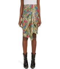 isabel marant breela paisley metallic asymmetric drape silk skirt, size 12 us in green 60gr at nordstrom