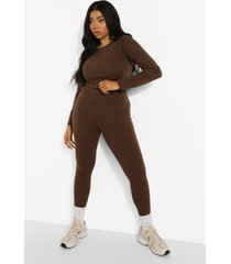 plus crop top met lange mouwen en leggings set, chocolate