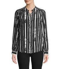 bardot belt-print silk shirt