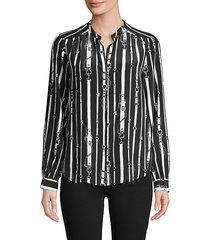 bardot belt-print silk shirt