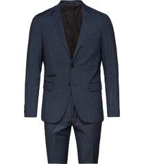 checked mens suit pak blauw lindbergh
