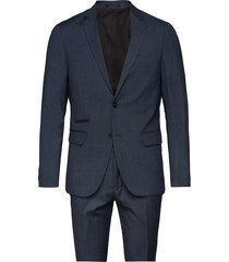 checked mens suit pak blauw lindbergh