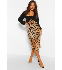 leopard mesh contrast midi dress, brown