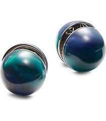 marbled resin sphere large stud earrings