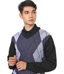 suéter polo wear tricot xadrez argyle preto/azul-marinho - kanui