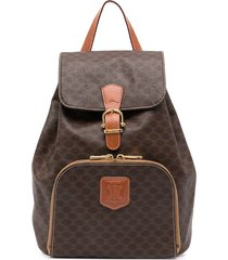 céline pre-owned pre-owned macadam drawstring backpack - brown