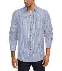 camisa de manga larga frontal con botones y estampado informal de otoño para hombre