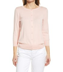 women's halogen crewneck cardigan, size xx-large - pink