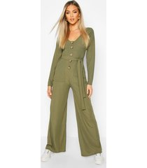 long sleeve horn button ribbed tie jumpsuit, khaki