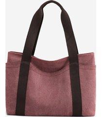 colorblock leisure canvas tote bag