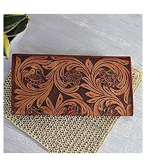 leather wallet, 'mughal vines' (india)